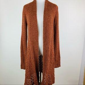 Belldini Burnt Orange Long Cardigan Sweater Small